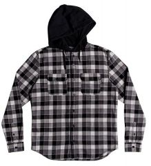 DC Boy's 8-16 Runnels Long Sleeve Hooded Flannel Shirt