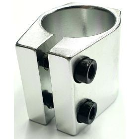 Grit Double Clamp 31.8mm Anodized Silver